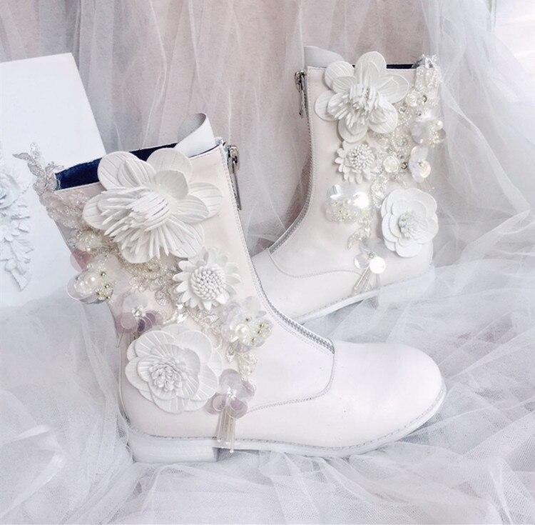 Blanc femmes chaussures fleurs et strass Cyrstal perlé perle mi-mollet bottes avec Zip pour hiver filles dame