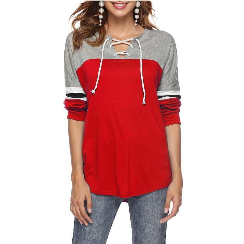 女性コントラスト色秋の V ネックコットン Tシャツ 2018 ルーズパッチワーク女神 Tシャツ冬フルスリーブトップス女性