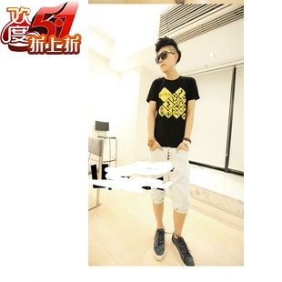 2012 short-sleeve T-shirt unique traffic signs men's clothing half round neck T-shirt