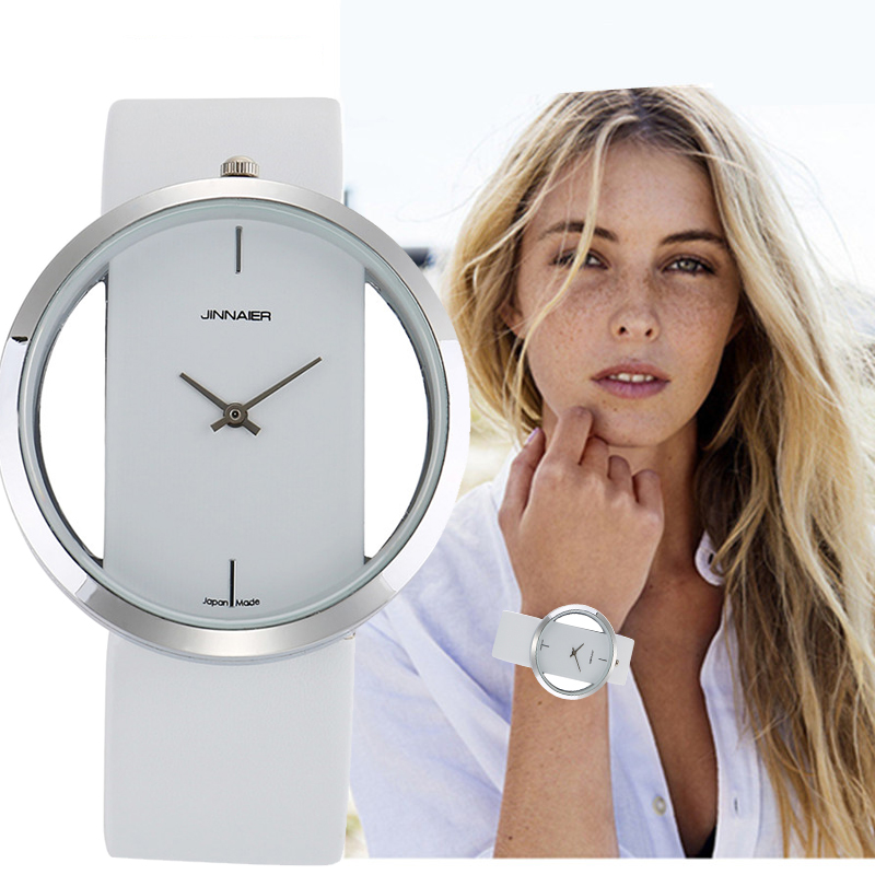 2019 New Stylish Women Hollow Skeleton Simple Watches Leather Watchband Silver Gold Dial Quartz Clock Relogio Feminino