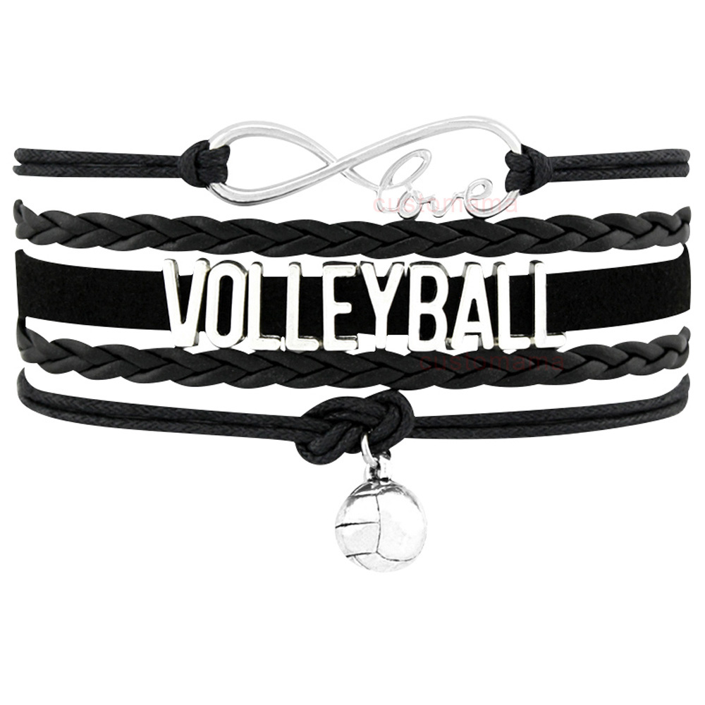 Volleyball Golf Sports Infinity Love Charm Bracelets Silver Black Handmade Adjustable Jewelry Women Men Boy Drop Shipping Gift