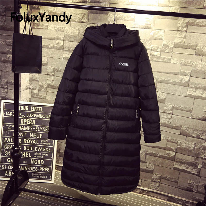 7 XL Plus Size Winter Jacket Women Parkas Long Sleeve Casual Hooded Warm Thick Loose Long Parka Black Outerwear NQYL51