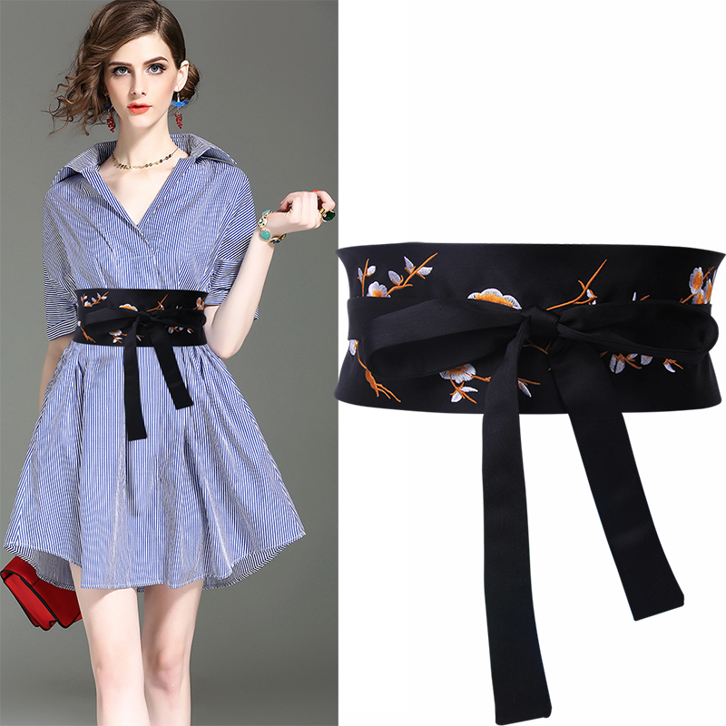 Black Embroidered Cummerbunds Flower Wide Belts For Women Fashion Ladies Double Knot Tie Waistband Accessories Girdle Bow Design