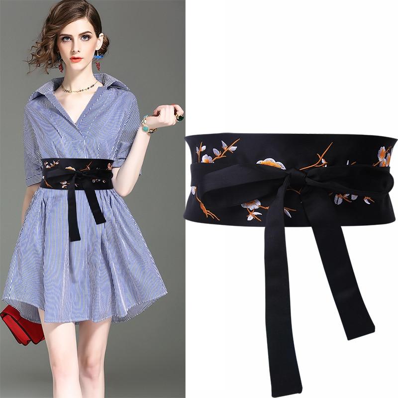 Black Embroidered Cummerbunds Flower Wide Belts For Women Fashion Ladies Double Knot Tie Waistband Accessories Girdle Bow Design