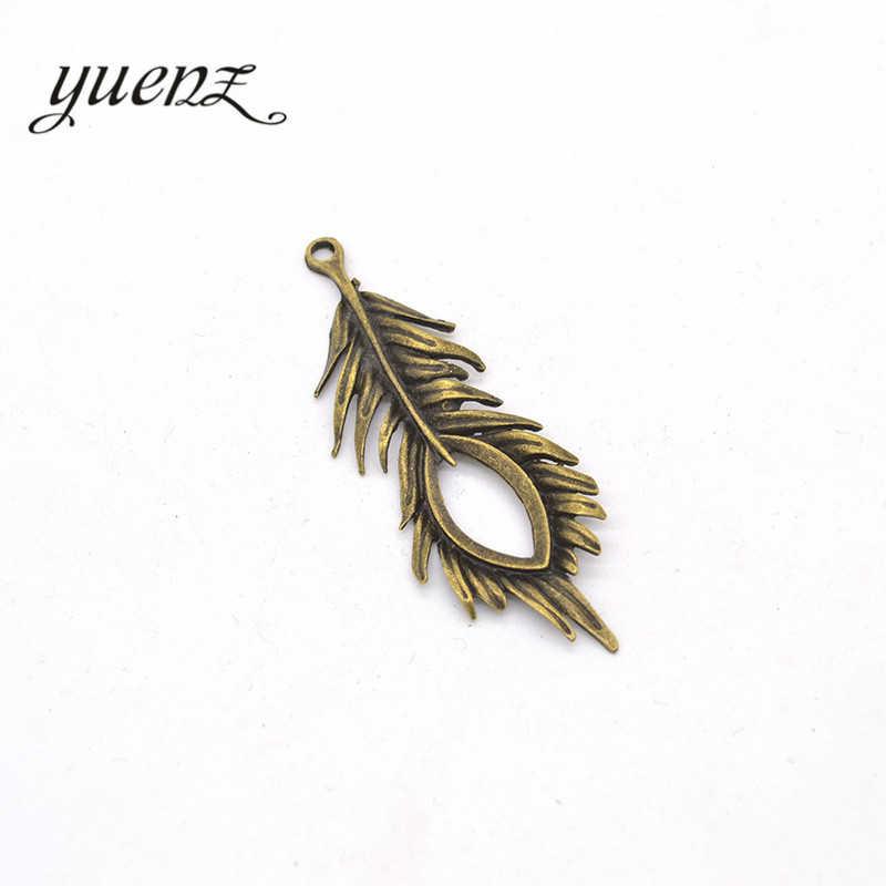 YuenZ 3 ピース 2 色アンティークブロンズ羽チャームブレスレットのためにフィットネックレスペンダント Diy のメタルジュエリー 72*28 ミリメートル D302