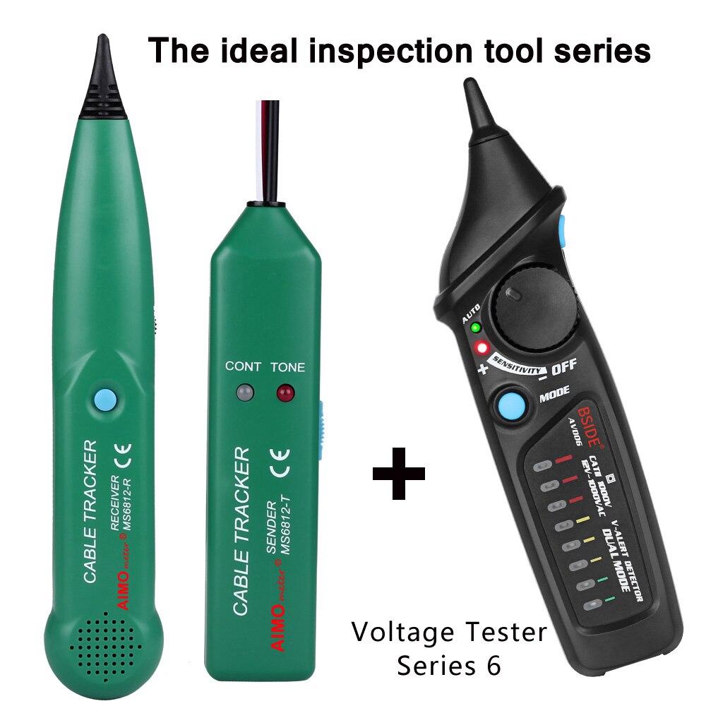 Línea profesional detector AIMOmeter MS6812 LAN Network Cable Tester teléfono Wire Tracker trazador con AVD06 Detector de voltaje