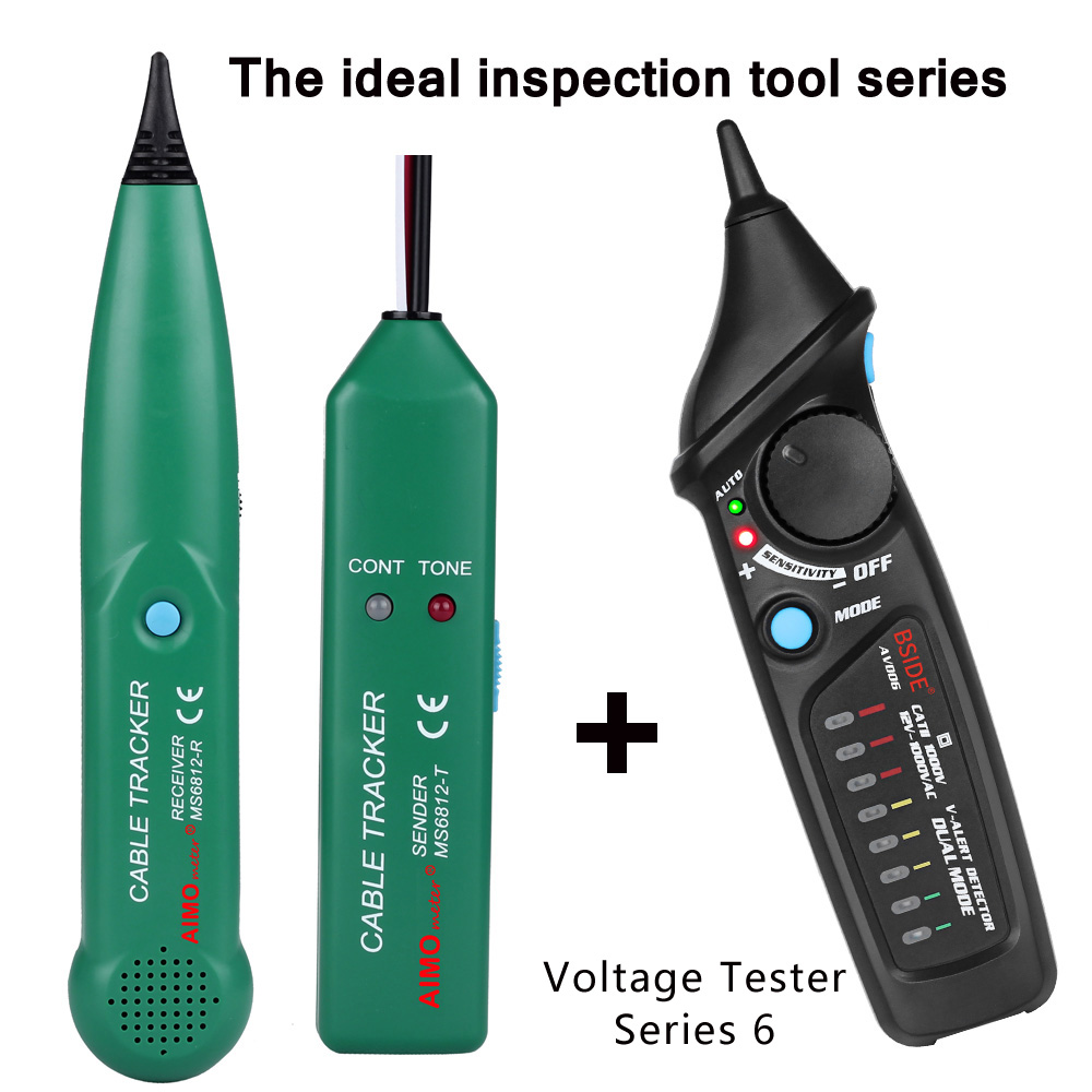 Professional Line detector AIMOmeter MS6812 LAN Network Cable Tester Telephone Wire Tracker Tracer with AVD06 Voltage Detector mastech ms6812 wire network telephone cable tester line tracker