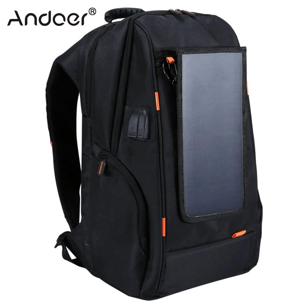 Solar Panel Outdoor Charging Backpack with USB Port Waterproof Breathable Travel Bag Wear resisting Anti theft