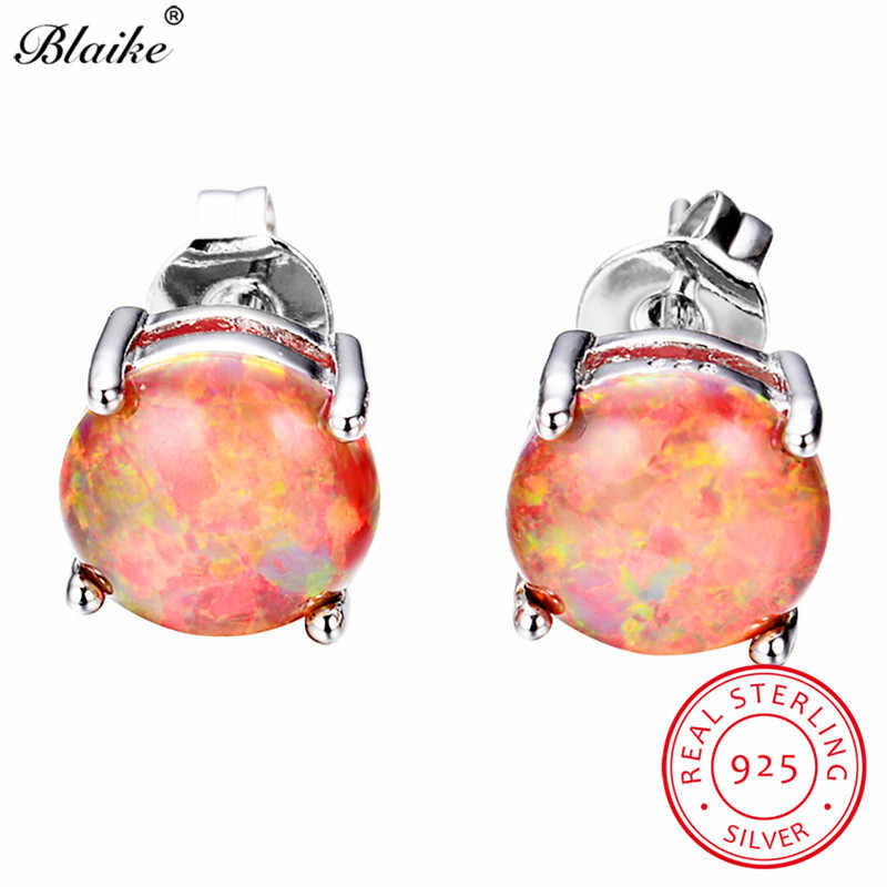Blaike оранжевый огненный опал 8 мм круглые серьги гвоздики для женщин 925 стерлингового серебра ювелирные серьги из камня подарки на день Святого Валентина