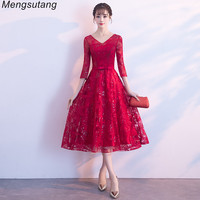 bbb1d72d0cb6 Robe De Soiree New Elegant Burgundy Long Formal Evening Dress With Lace  Embroidered Sequin Transparent Shiny