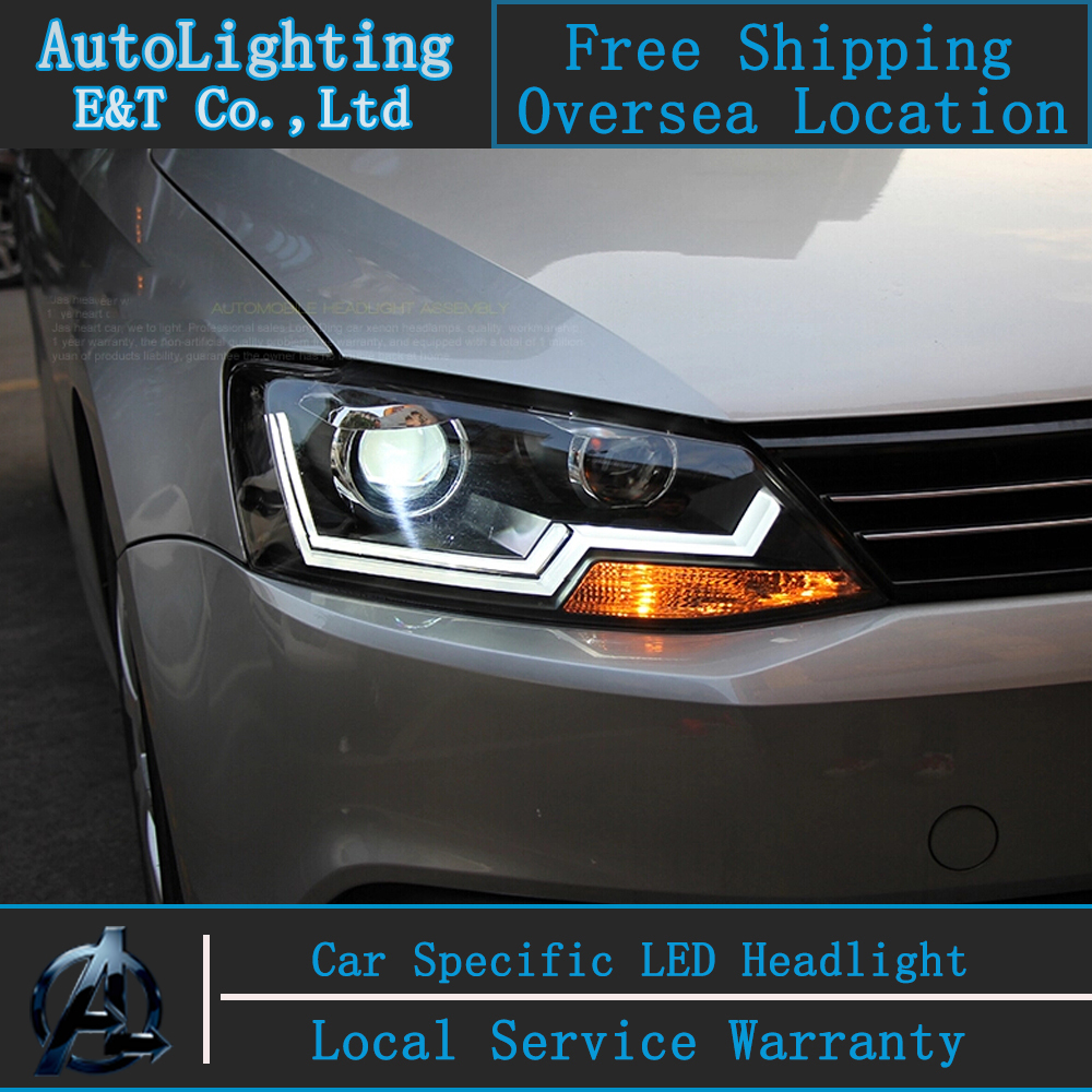 Car styling LED Head Lamp for VW Jetta led headlight assembly 2011-2014 Cob Line drl H7 with hid kit 2pcs.