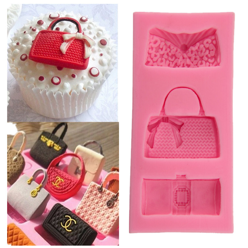 Kitchen DIY Creative 3D Fashion Bags Fondant Chocolate Mold Silicone Molds Fondant Cake Decoration Moulds A597