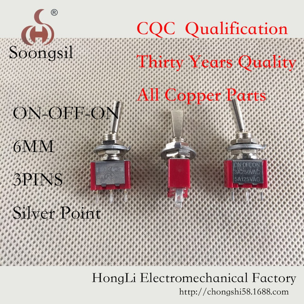Free Shipping 5PC/LOT 3 Pin ON-OFF-ON 3 Position CQC ROHS silver point Flat handle RC Transmitter AC 6A/125V 5pc lot free shipping flat handle rocker switch 3 pin on on spdt cqc ul rohs silver point toggle switch ac 6a 125v 3a 250v