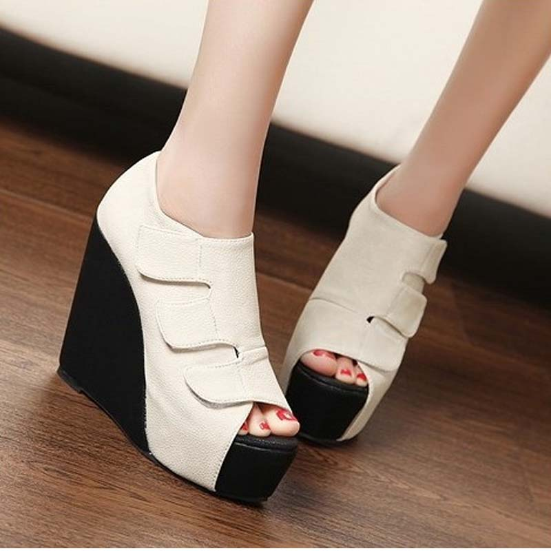 New Fashion Wedges High Heels Open Toe PU Leather Sandals Women Sexy Peep Toe Platform Pumps Woman Big Size Shoes 34-43 44 45 woman fashion high heels sandals women genuine leather buckle summer shoes brand new wedges casual platform sandal gold silver