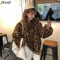DICLOUD Winter Leopard Pullover Hoodies Women Vintage Oversized Hoodies Ladies Loose Plus Size Sweatshirts Woman Long Sleeve Top