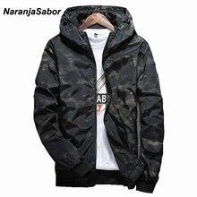 NaranjaSabor демисезонный для мужчин s повседневное камуфляжная куртка с капюшоном мужчин непромокаемая одежда ветровка пальт