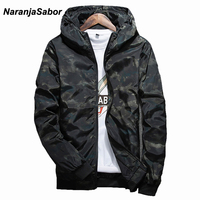 NaranjaSabor Spring Autumn Mens Casual Camouflage Hoodie Jacket Men Waterproof Clothes Mens Windbreaker Coat Male Camo