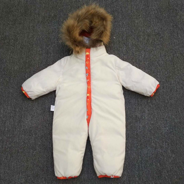 -30 degree new Baby snowsuit snow wear winter warm clothing fleece jumpsuit 90% White duck Down jacket coat for girl boy clothes