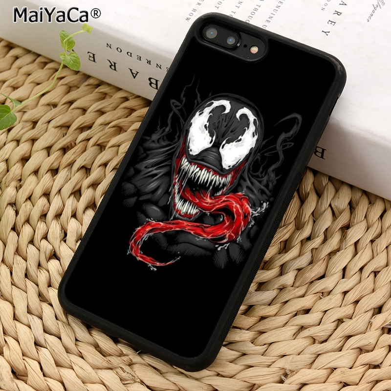MaiYaCa Spider man Villain Marvel Venom Phone Case Cover for iPhone 5 5s SE 6 6s 7 8 X XR XS max samsung galaxy S6 S7 S8 S9 Plus marvel glass iphone case