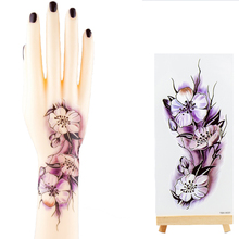 Sexy Temporary Tattoo Women Transferable Tattoos Henna For Mehendi Purple Flowers Fake Sleeve Tattoo Sticker On Body Art Hand