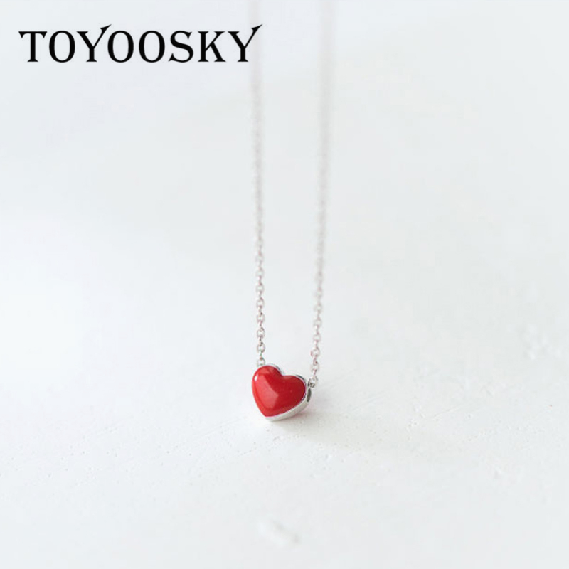 925 Sterling Silver Red Heart Pendant Necklaces for Women Ges