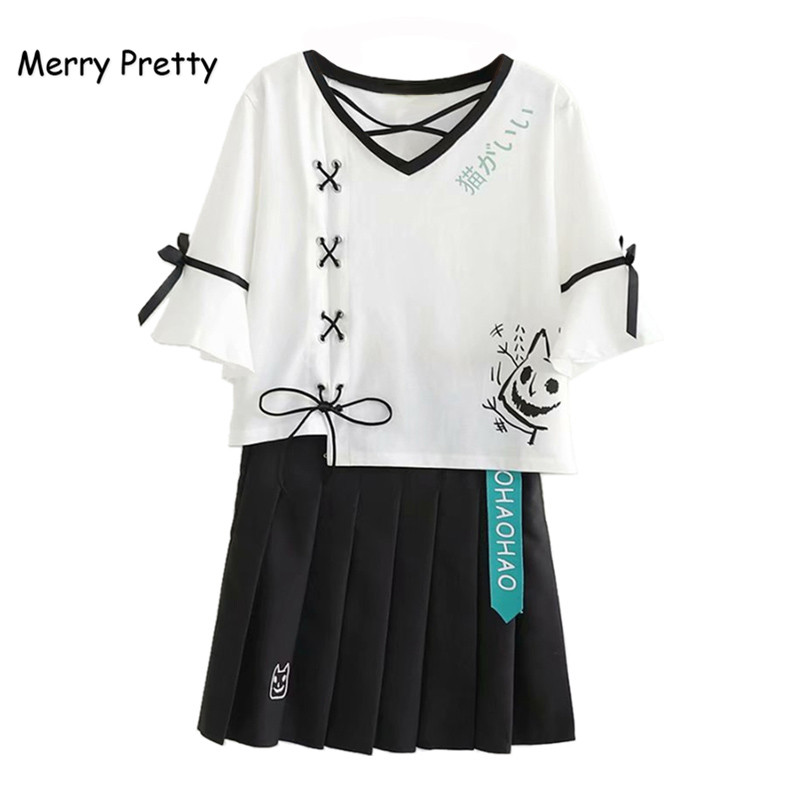 Merry Pretty Summer 2 Piece Set Women Lace Up White Crop Top And Black Pleasted Skirt Set 2 Piece Outfits Women Matching Sets