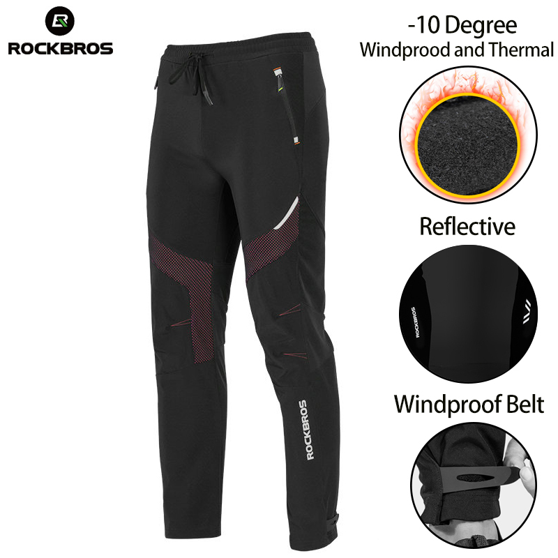 ROCKBROS Men Winter Bike Cycling Pants Fleece Thermal Waterproof Outdoor Sport Pants Bicycle Clothings Tights Pants