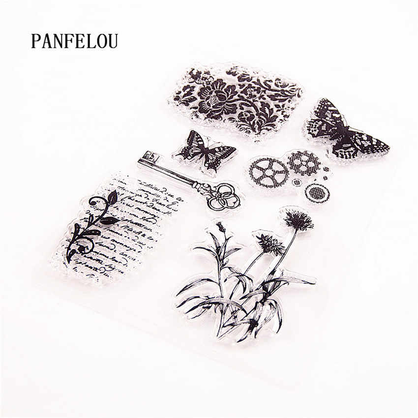 PANFELOU The butterfly key Transparent Silicone Rubber Clear Stamps cartoon for Scrapbooking/DIY Christmas wedding album