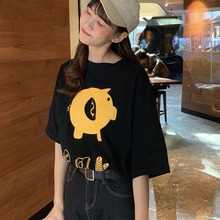 Tshirt Women Streetwear Round Neck Cartoon Pig Money Box Print Short Sleeve T-Shirt Camisetas Verano Mujer 2019