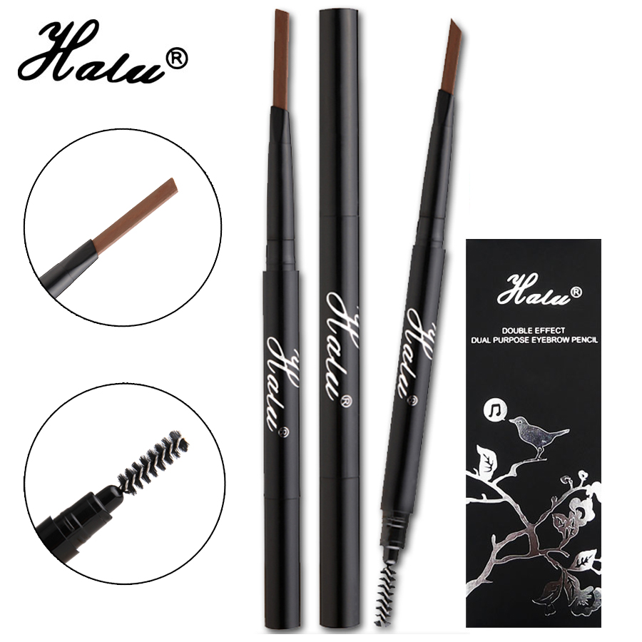 HaLu 2016 Women Ladies Makeup Eyebrow Waterproof  permanent Eyebrow Pencil Cosmetics Brow Eye Liner Tools 2in1 brown 3 color