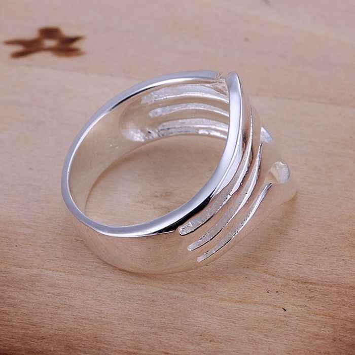 925 เครื่องประดับ silver plated เครื่องประดับแหวนแฟชั่นเงินผู้หญิงแหวนผู้ชายลายนิ้วมือคุณภาพสูง SMTR123