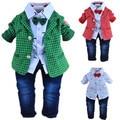 1-2Y baby boys plaid gentlemen clothing set 3pcs baby boy clothing infant vestidos clothes set kids clothes sets