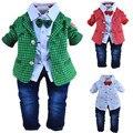 1-2Y bebés de la tela escocesa caballeros ropa set 3 unids ropa infantil del bebé vestidos ropa de los cabritos arropa los sistemas