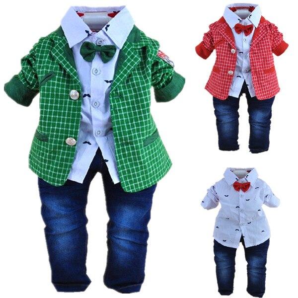 Claro 1-2Y bebés de la tela escocesa caballeros ropa set 2 unids ropa infantil d