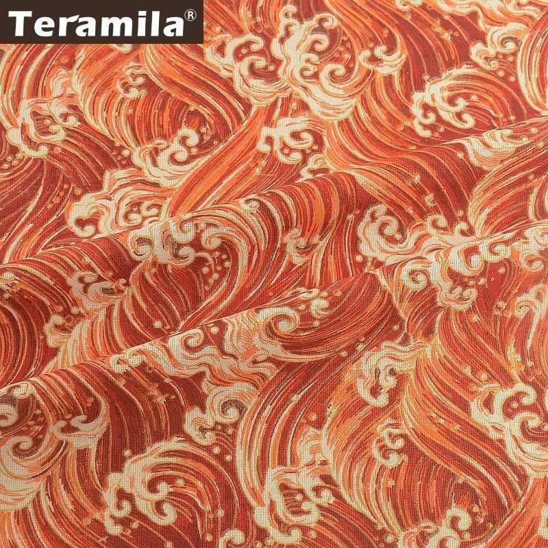 Teramila Tessuto della Tela di canapa Metri Rosso In Cotone E Lino Panno Ankara Africano Telas Tissu FAI DA TE Patckwork Materiale Tovaglia Cuscino Borsa