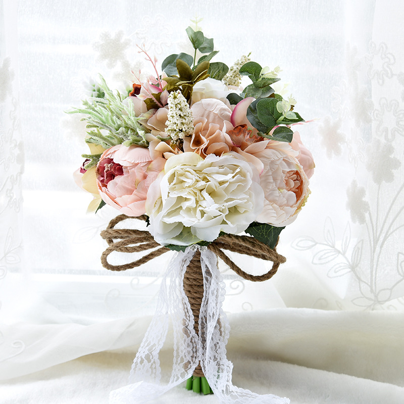 European Style Artificial Flowers Wedding Bouquets for Bride Crystal Peony Lace Brooch Bouquet De Mariage 7 Colors Bruidsboeket