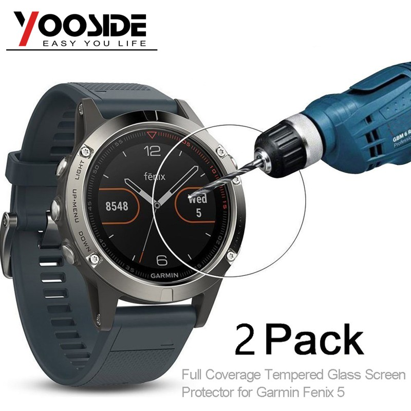 YOOSIDE 2 Pcs Tempered Glass Watch Screen Protector 9H Real Full Coverage Film For Garmin Fenix 5