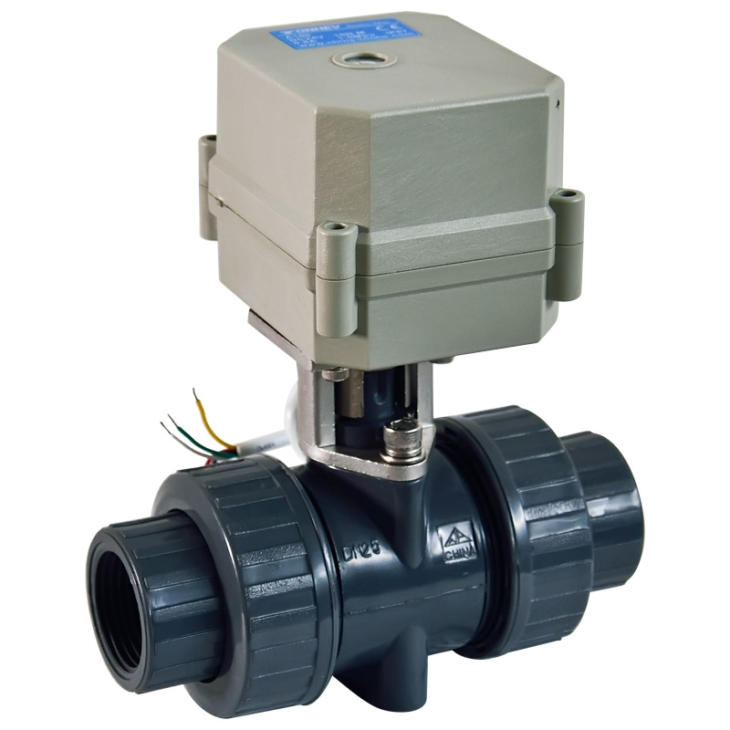 2 Way PVC DN25 Motorized Ball Valve BSP/NPT 1'' AC110-230V 4/7Wires 10NM Electric Ball Valve On/Off 15 Sec Metal Gear CE