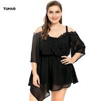TUHAO Plus Size Women Blouse 3XL 4XL 5XL 2017 Summer Solid Casual Chiffon Blouses For Women