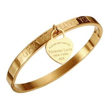 2d0096c30cf5 De moda amante brazalete pulseras brazaletes para mujer Color oro rosa  pulsera de acero inoxidable con colgante de corazón de joyería de lujo de  la marca