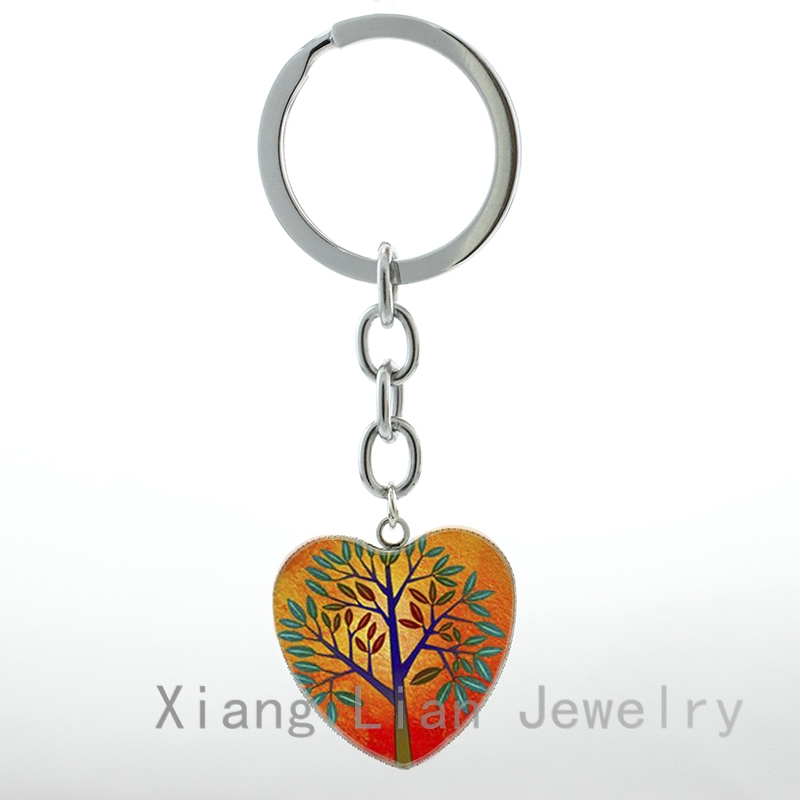 2016 newest fashion Mod Orange Tree keychain new summer day tree of life charm silver plated key chain ring friendship gift HP79