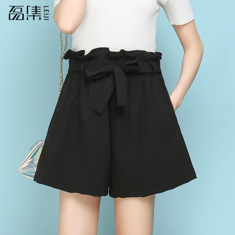 Trousers For Women Chiffon High Waist Knee Length Plus Size Casual Loose Drawstring Black   Wide     Leg     Pants   5xl 6xl