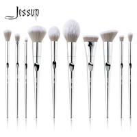 Jessup New Arrival 10pcs Makeup Brushes Set pinceaux maquillage Fantasy Silver Foundation Eyeshadow Brushes Cosmetics T261