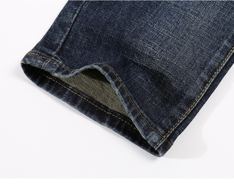 KSTUN Mens Jeans Brand Dark Blue Spring and Autumn Slim Straight Stretch Business Casaul Man Denim Pants Cowboys Plus Size 40 18