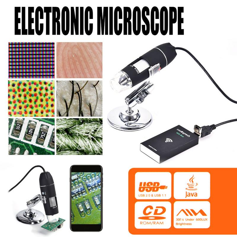 3 In 1 Wireless WiFi 8LED 1000X Digital Microscope 2MP HD 1080P USB Electronic Microscope Magnifier For Biology Industry