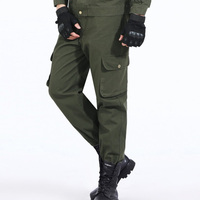 Hot Sell Men Middle Waisted Pants Slim Fit Full Length Cargo Pants Fashion Straight Pants Solid