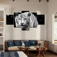 No Frames 5 Pieces Black And White Tiger Canvas Wall Art Printings For Bedroom Living Room