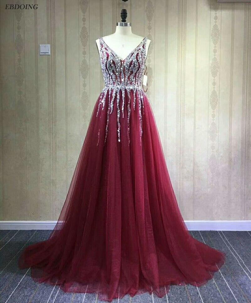 Real Photo A-line Prom   Dress   V-neck Neckline Vestidos de festa Backless Sleeveless Plus Sizes   Evening     Dresses   With Beadings