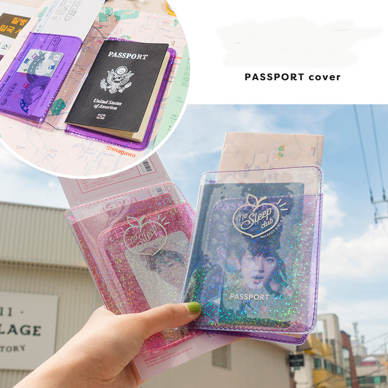 Bentoy PVC Shining Heart Passport Case Lovely Korea Girls Passport Holder Waterproof Women Travel Ticket New Card Bag