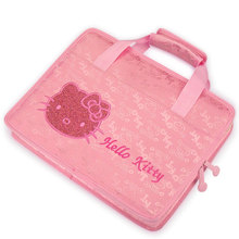 HelloKitty Laptop Bag Pouch Girl's File Package Briefcase Handbag Notebook Case for Dell HP Lenovo 13 14 15 inch Soft Cover Pink